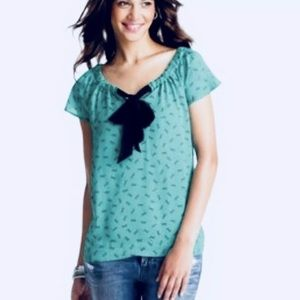 LOFT Short Sleeve Pussy Bow Tie Pullover Blouse